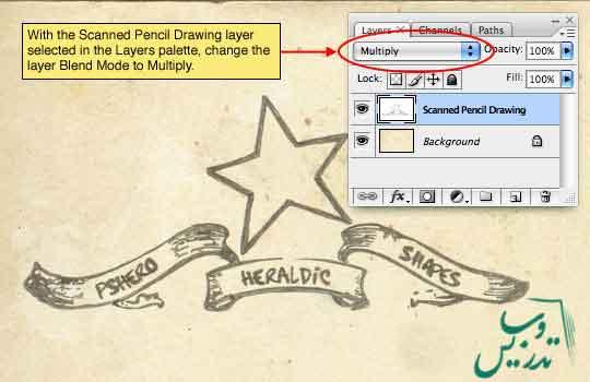 نقاشی با مداد و یا خود نویس در طراحی وب با فتوشاپ